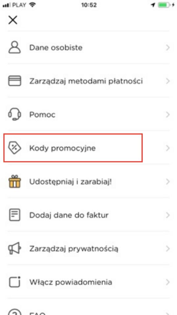 Miejsce na kod promocyjny w aplikacji Glovo