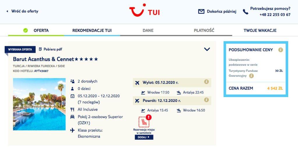 Rezerwacja wycieczki Biuro Podróży TUI