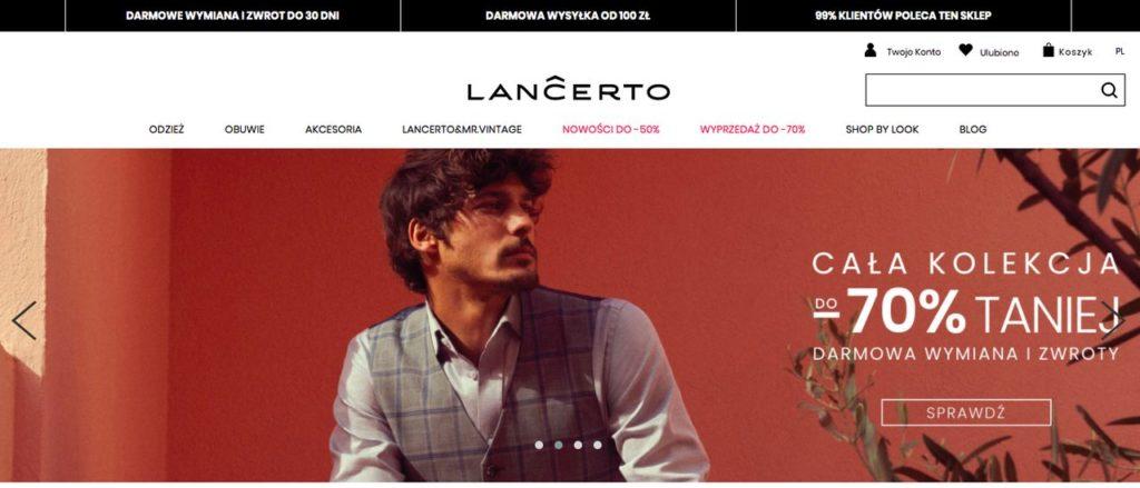 sklep z modną odzieżą męską Lancerto