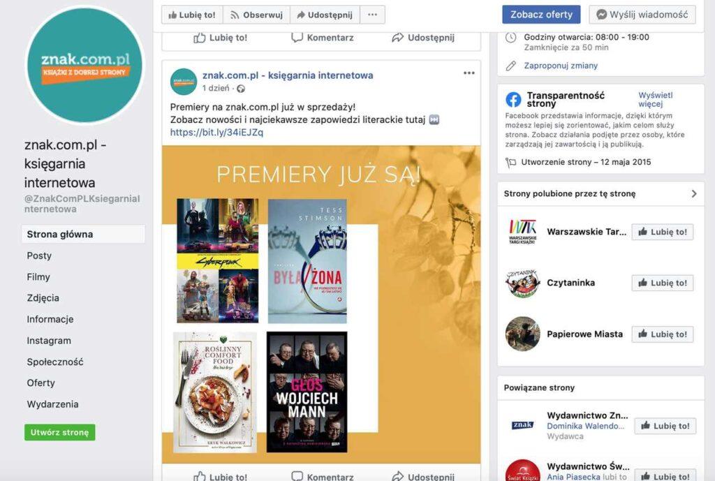 Facebook księgarni internetowej Znak.com.pl
