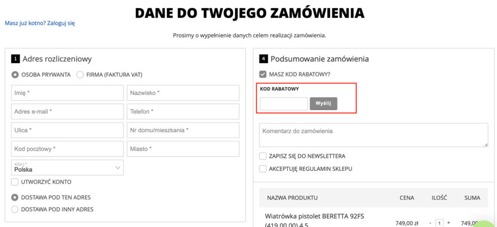 miejsce na kod rabatowy na bron.pl